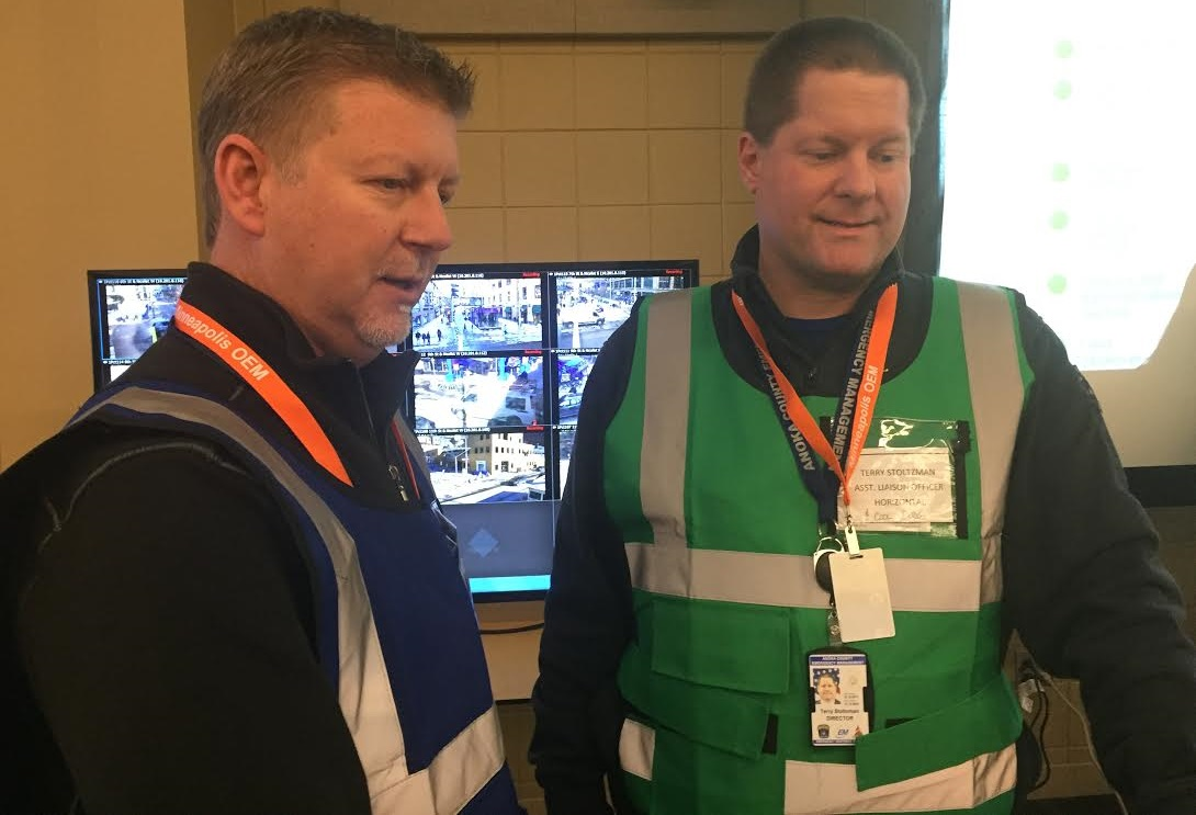 Operations personnel at work during Super Bowl LII