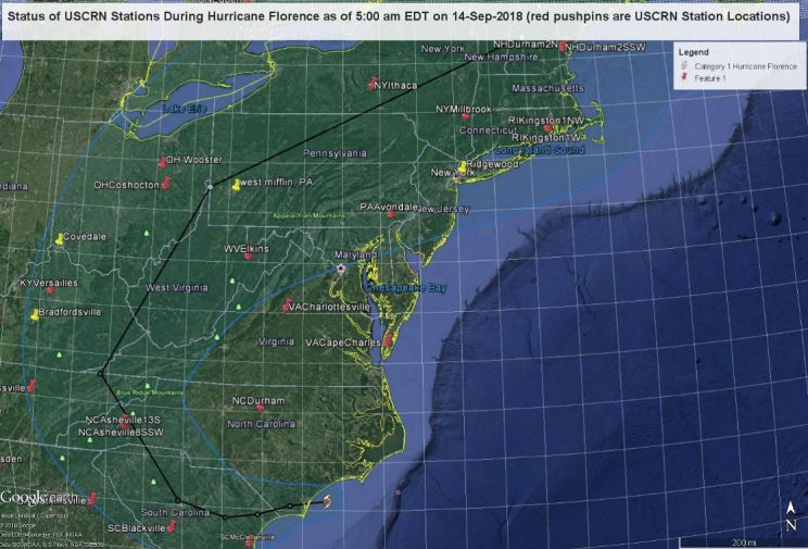 U.S. map showing Hurricane Florence and 8 USCRN station locations