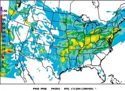 Map depicting predicted PM2.5 concentration in the U.S.