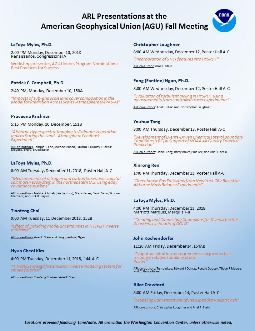 Detailed ARL presentation schedule