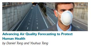 Man in protective face mask standing in front of a highway, with the article title and authors listed below
