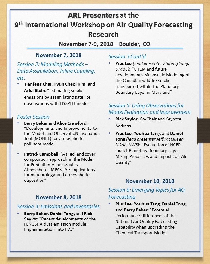 One page listing of ARL presentations by session, authors, title