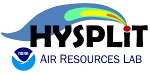 HYSPLIT logo. Black letters with the dot on the i as a colored plume.