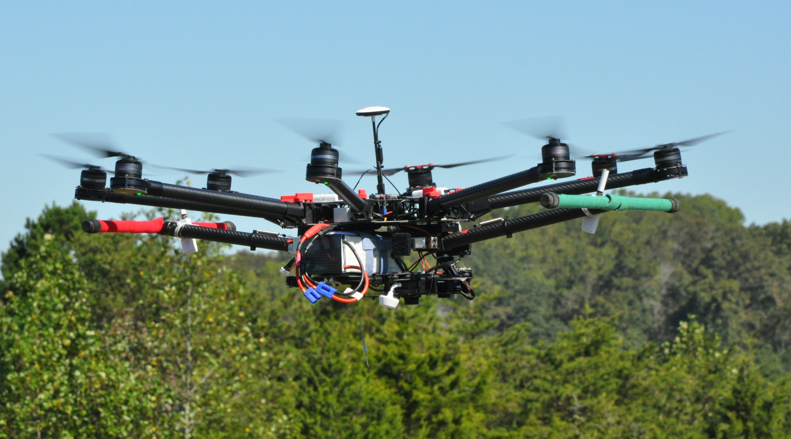 In-flight photo of an octocopter