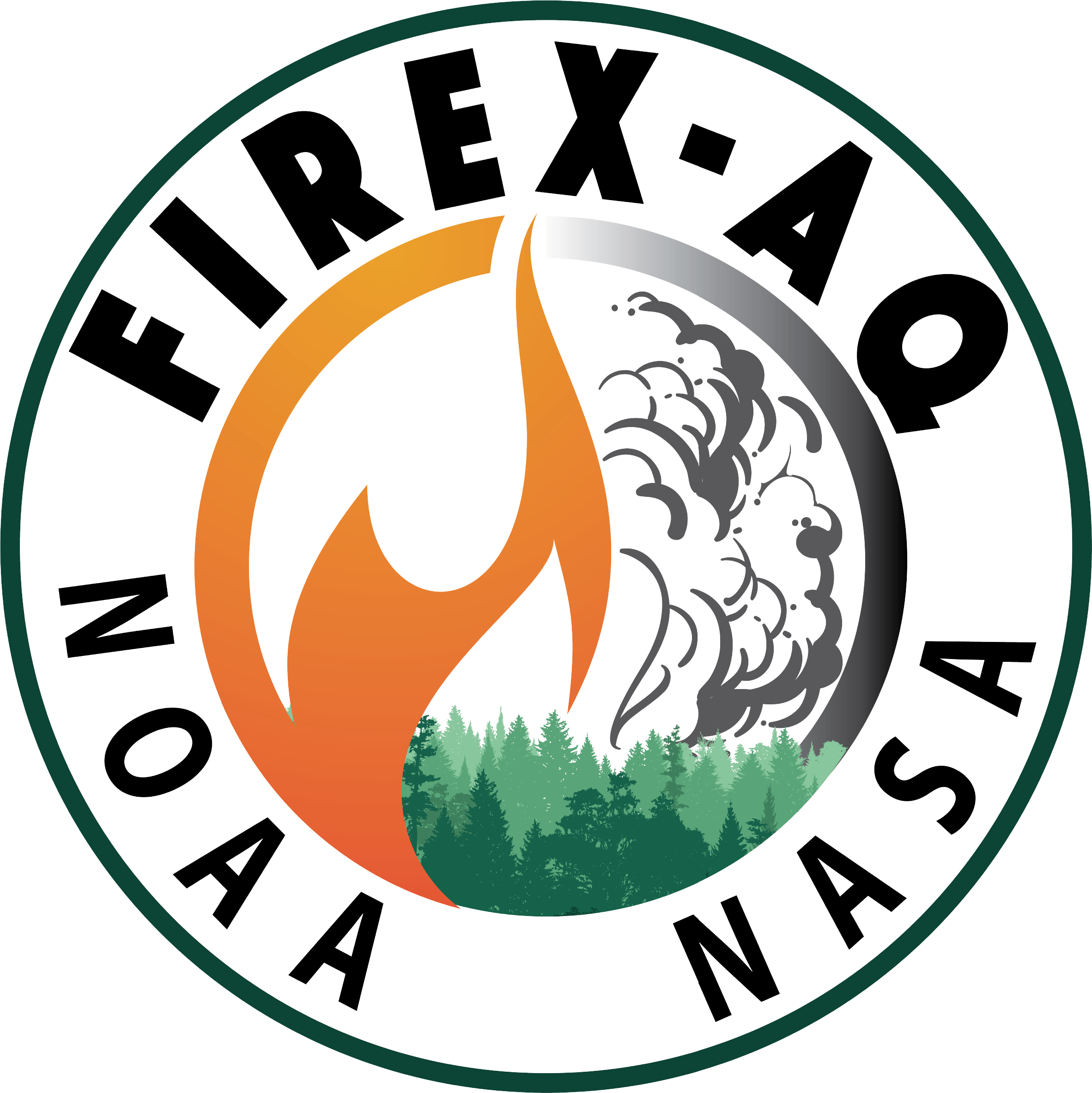 The FIREX-AQ logo is a circle with fire, smoke, and trees. NOAA and NASA are both listed.