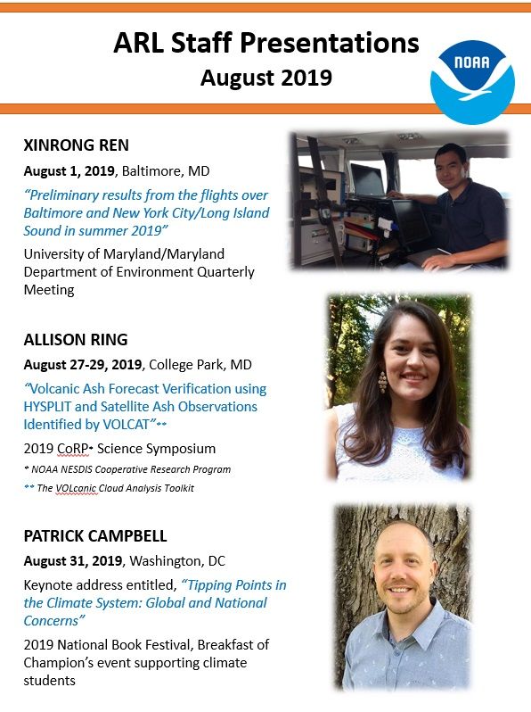 List ARL staff presentations in August 2019. Includes names, dates, locations, presentation and event titles. Also includes photos of each speaker.