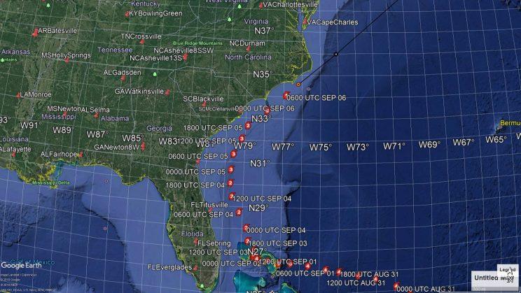 Map of Dorian's track along the U.S. East Coast