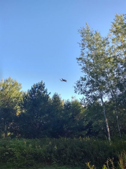 ATDD's fixed-wing drone flies just above the tree line