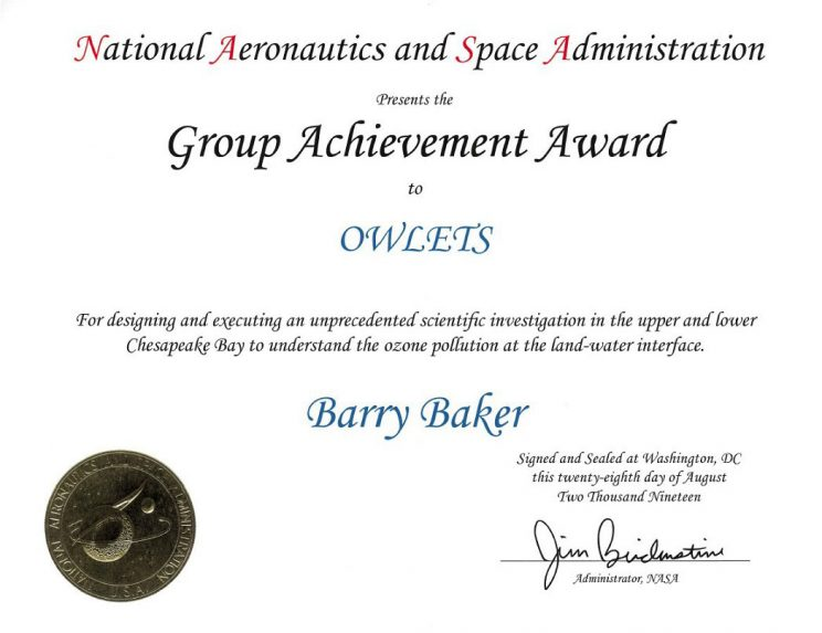 Scanned certificate complete with gold NASA seal and Administrator Bridenstine's signature. OWLETS and Barry Baker also appear on the certificate.