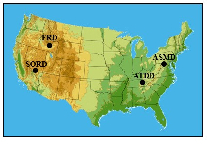 Map of the U.S. with SORD, FRD, ATDD, and ASMD shown above their respective states.