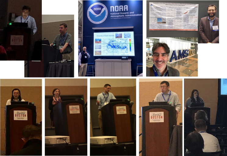 Collage of 10 images: 7 with individual staff members presenting behind a podium, 1 presenter in NOAA's booth, 1 presenter with his poster, and 1 selfie in front of a large-scale display of AMS100.