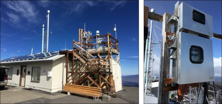 Two photos. Left: One-story concrete building with solar panels on the roof and a wooden staircase/platform on the right side. Instrumentation visible on the platform, towers visible in the background. Right photo: Close-up of two metal boxes, each with a clear window near the center. Ice is seen on the wiring below the boxes.