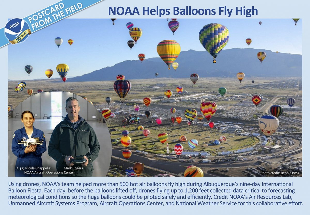 Shown are balloons aloft during Albuquerque's International Balloon Fiesta. Also shown are Nicole Chappelle and Mark Rodgers, of the NOAA Aircraft Operations Center. They are holding drones that supported accurate forecasts critical to safely and efficiently piloting balloons throughout the festival. NOAA's Unmanned Aircraft Systems Program, Air Resources Lab and National Weather Service also supported the effort.