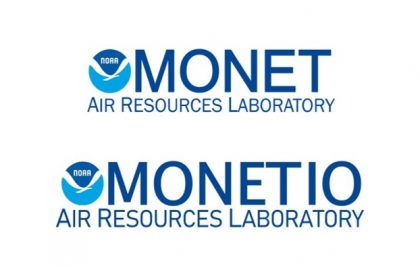 Logos for MONET and MONETIO (top and bottom, respectively). Both are the NOAA logo beside the program name in capital letters in blue font with the words AIR RESOURCES LABORATORY underneath it in the same blue font.