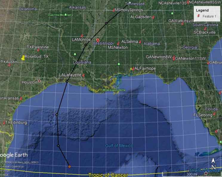 Path of Hurricane Delta