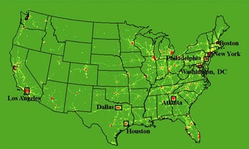 Map of U.S. showing 8 major cities