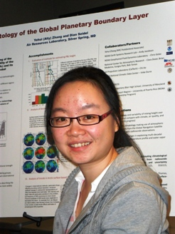 Ally Zhang in front of her scientific poster