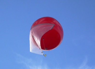 ARL-designed balloon installed with a sail to increase ability of the balloon to track the wind speed more closely and increase the balloon lift as ballast line goes into the water