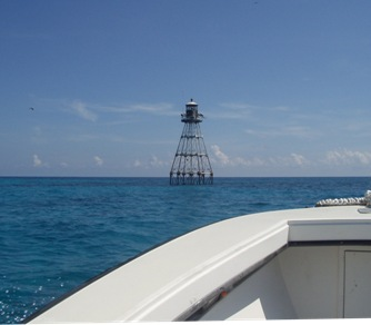 A look at the Tennessee Reef navigation light where the ET probe will be placed. Photo Credit: NOAA, June 2010
