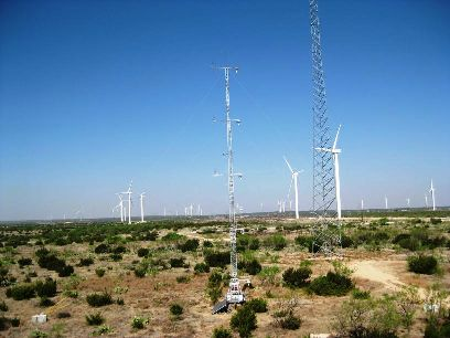 ARL's 100 ft. instrumented research tower at a wind farm near Big Spring, TX