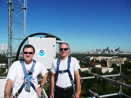 ARL scientists on study tower near Houston, TX